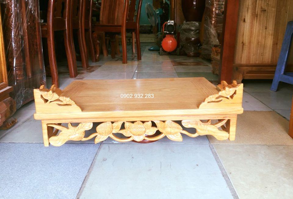 Bàn thờ treo tường gỗ gõ đỏ trạm sen 61 x 48