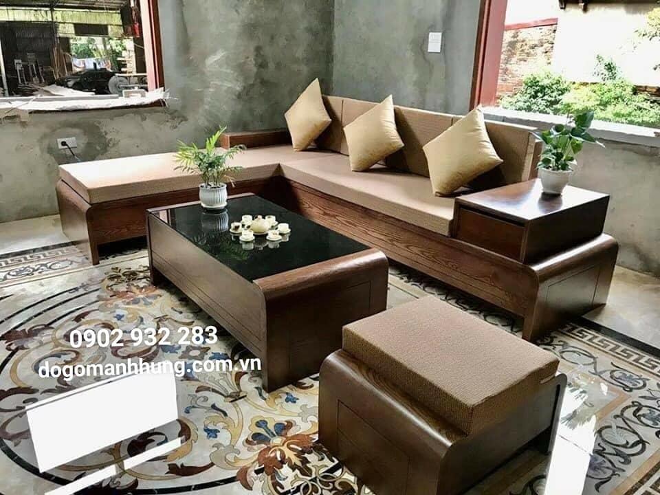 Bộ sofa góc gỗ sồi góc L màu óc chó MS 12.9A