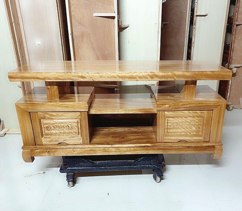 Kệ ti vi gỗ hương xám 1.4m, mẫu cân
