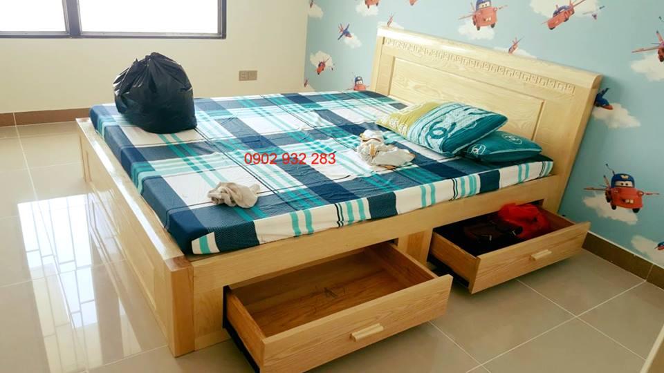 Giường Ngủ Gỗ Có Hộc Kéo gỗ sồi