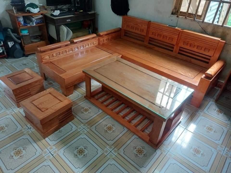Sofa góc gỗ sồi tay chứng nhỏ MS 7.9
