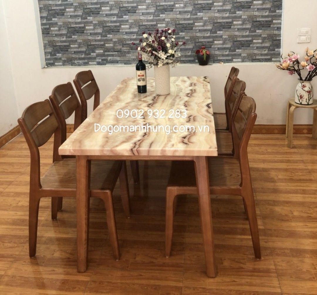 Bộ bàn ăn gỗ sồi mặt đá A88