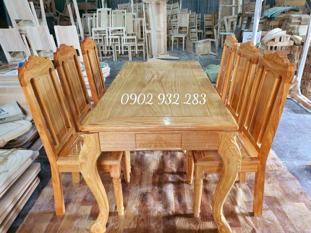 Bộ bàn ăn gỗ gõ đỏ 6 ghế G02