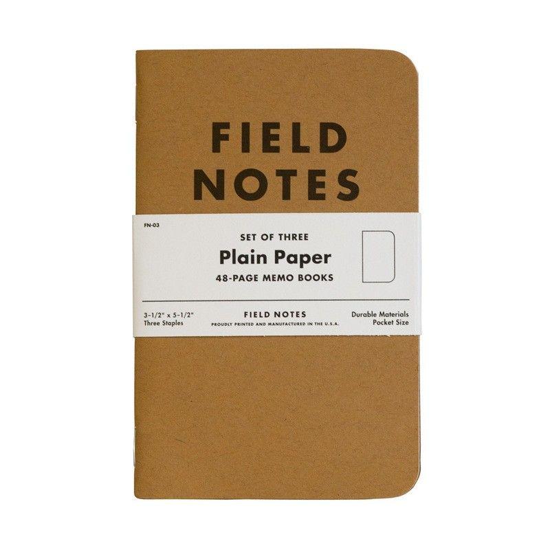 (01 quyển) Sổ FieldNotes - Plain Paper (FN-03 Giấy trắng - Bìa giấy nâu - 48 trang - Kích thước 9cmx 14cm - 3-1/2