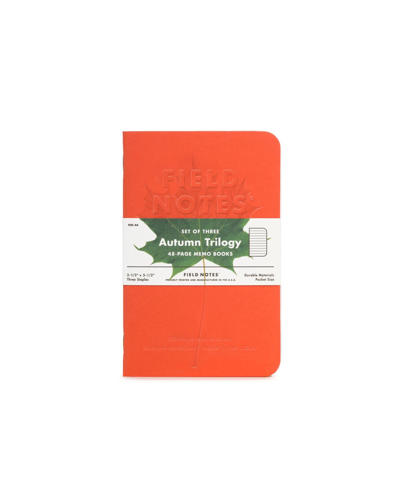 (01 quyển) Sổ FieldNotes - AUTUMN TRILOGY (FNC-44 Sổ Kẻ ngang - 48 trang - Hình lá phong dập chìm - Kích thước 8.9cm × 14cm - 3½