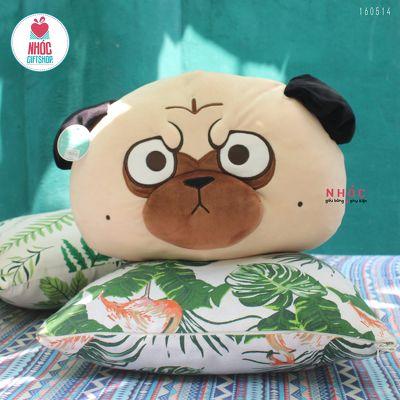 Gối bông đầu Chó Pug lông mịn - Camel - 35290