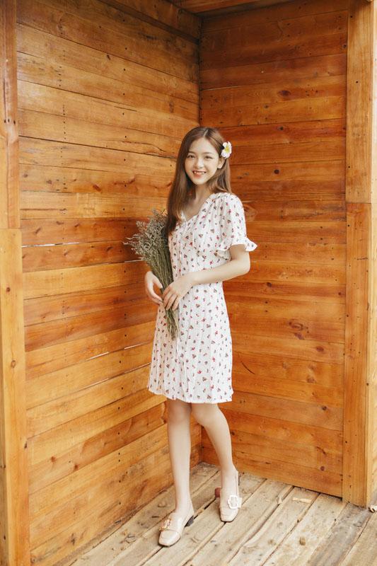 Váy hoa nhí 1 hàng cúc tay xòe 850