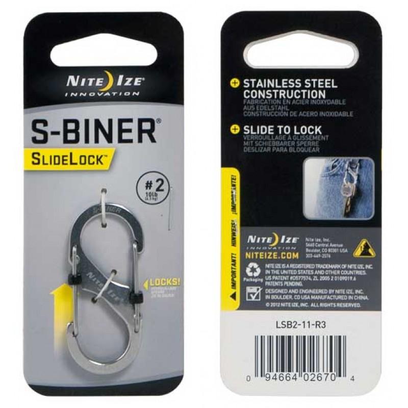 Nite Ize - Móc khóa LSB2-11-R3 - S-Biner Slidelock Size 2 (Thép không gỉ)