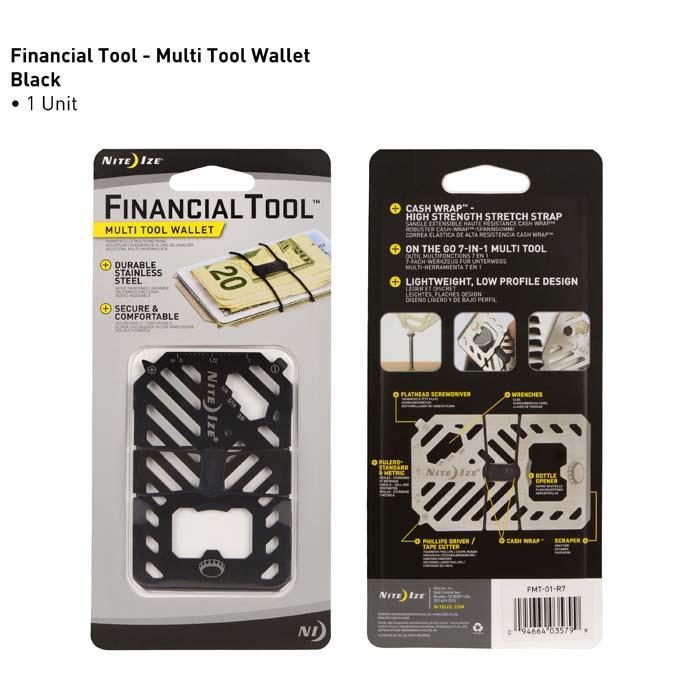 Nite Ize - Móc khóa FMT-01-R7 - Financial Tool - Dụng cụ kẹp tiền đa năng (Thép đen Black Oxit)