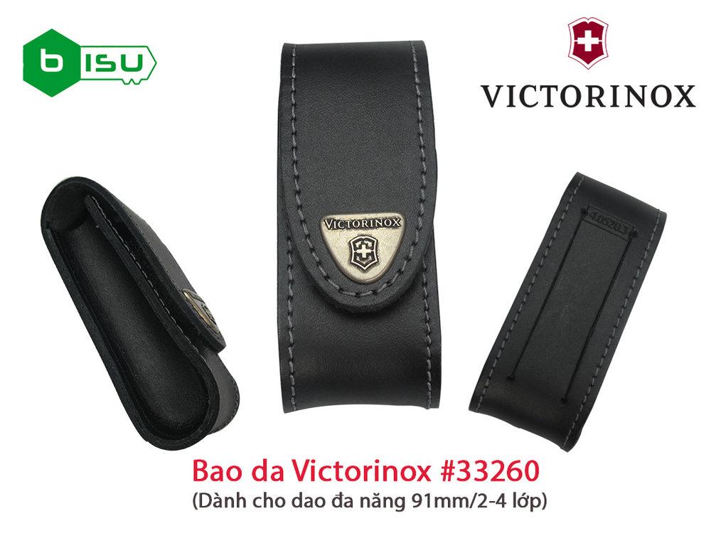 Phụ kiện Victorinox - Bao da Victorinox 33260 / 4.0520.3 (Màu đen - 91mm & 2-4 lớp)