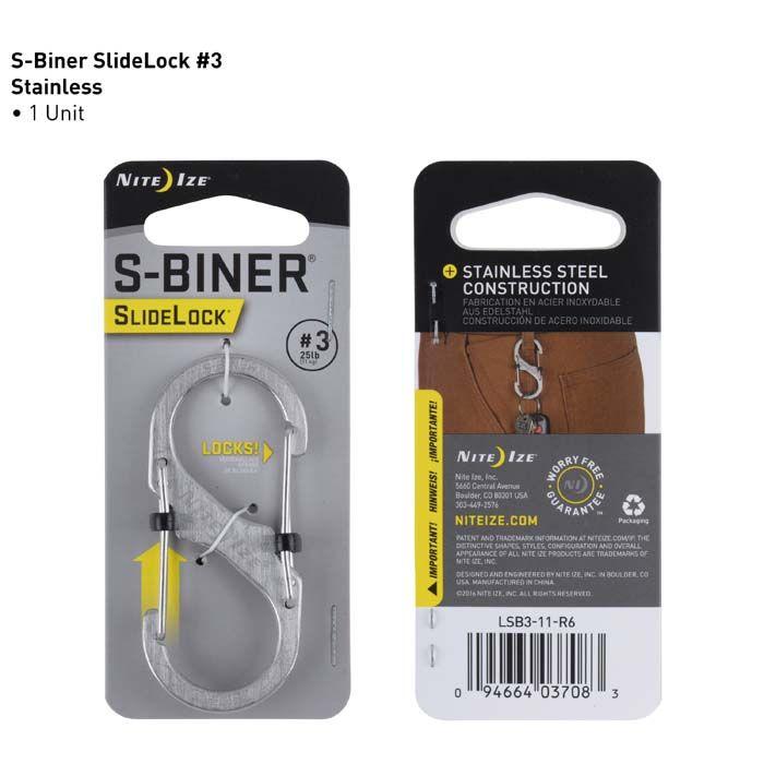Nite Ize - Móc khóa LSB3-11-R6 - S-Biner Slidelock Size 3 (Thép không gỉ)