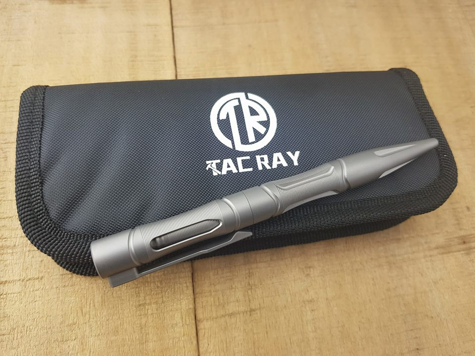 Bút Titanium Tactical Tacray TR-TAC1603 Stone Wash (Thân Bạc Bóng - Nắp bút xuyên thấu)