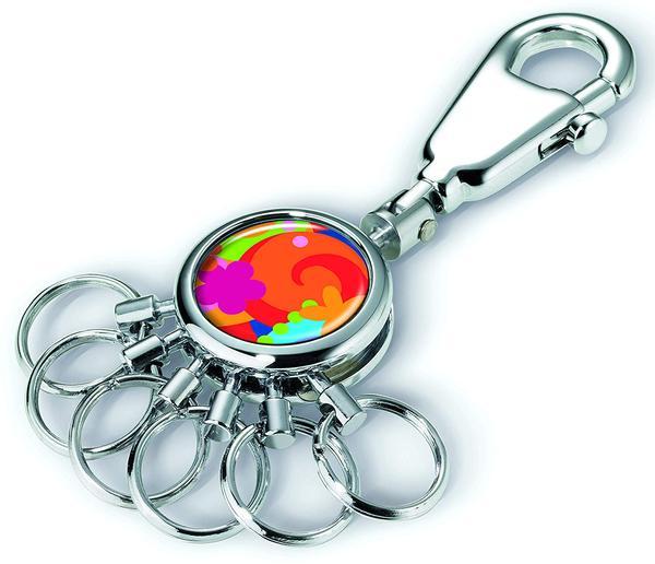 Móc khóa Troika POP UP YOUR LIFE - (Móc khóa bạc nhám mặt tròn màu sắc + 6 móc ring tròn, nhỏ 1.5cm