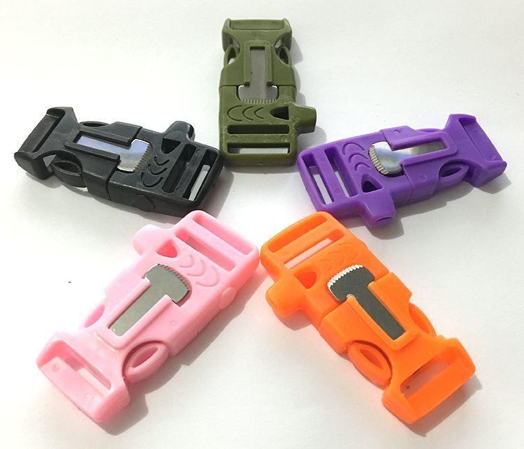 Khóa nhựa Paracord - Kèm đánh lửa + Còi (Màu cam)