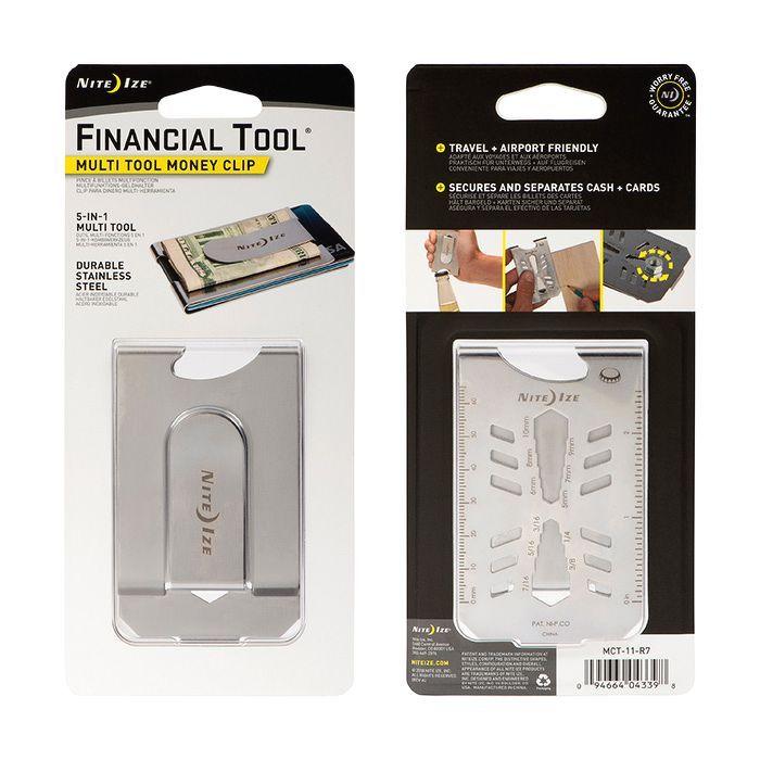 Nite Ize - Dụng cụ kẹp tiền đa năng MCT-11-R7 Financial Tool Money Clip - (Thép không gỉ)