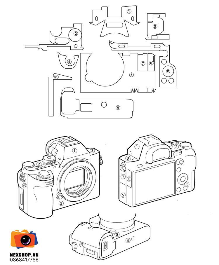 Dán da Sony A7 mark 2 / A7R II / A7S II | Màu camo | Nhập khẩu