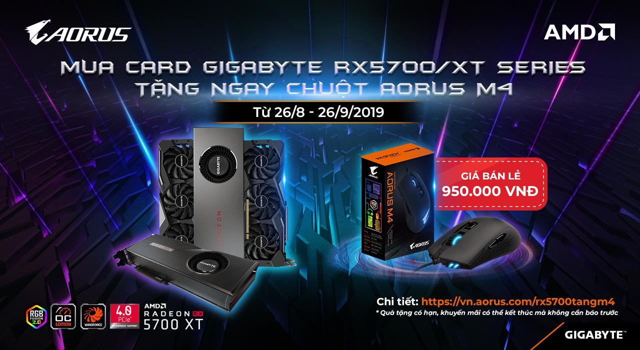 Nhận ngay Gaming mouse AORUS M4 khi mua VGA RX5700