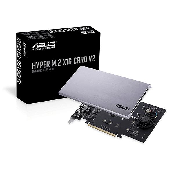 Adapter ASUS Hyper M.2 x 16 PCIe 3.0 x 4 V2 (Hỗ trợ 4 SSD NVMe)
