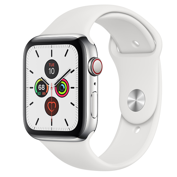 Apple Watch Series 5 GPS + Cellular, 44mm Stainless Steel Case with White Sport Band - mới 99%