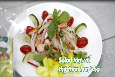 Salad tôm với thịt thăn hun khói