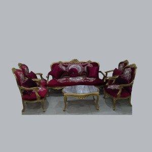 صالون مدهب 1 كنبة 3 مقعد + 4 كرسي + ترابيزة برخامة خشب زان