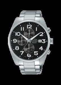 ألبا AM3209X1 رجالي ساعة يد برستيج سوار ستانلس ستيل مينا سوداء و مقاومة للمياه حتى مسافة 50 متر