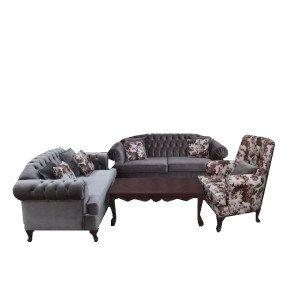 طقم انترية 1 كنبة 3 مقعد + 1 كنبة 2 مقعد + 1 كرسي خشب زان