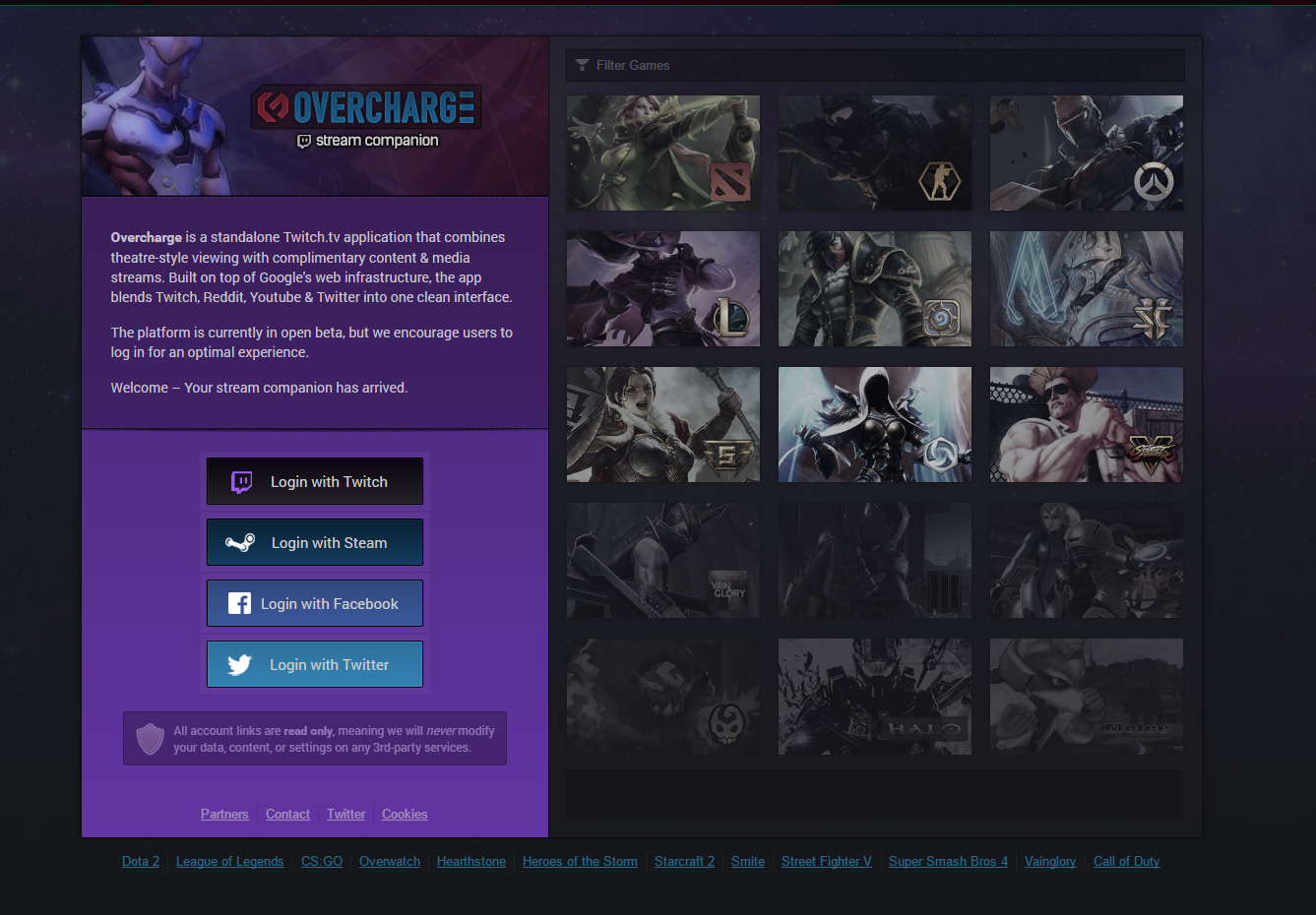 overcharge tv gaming app twitch streams companion