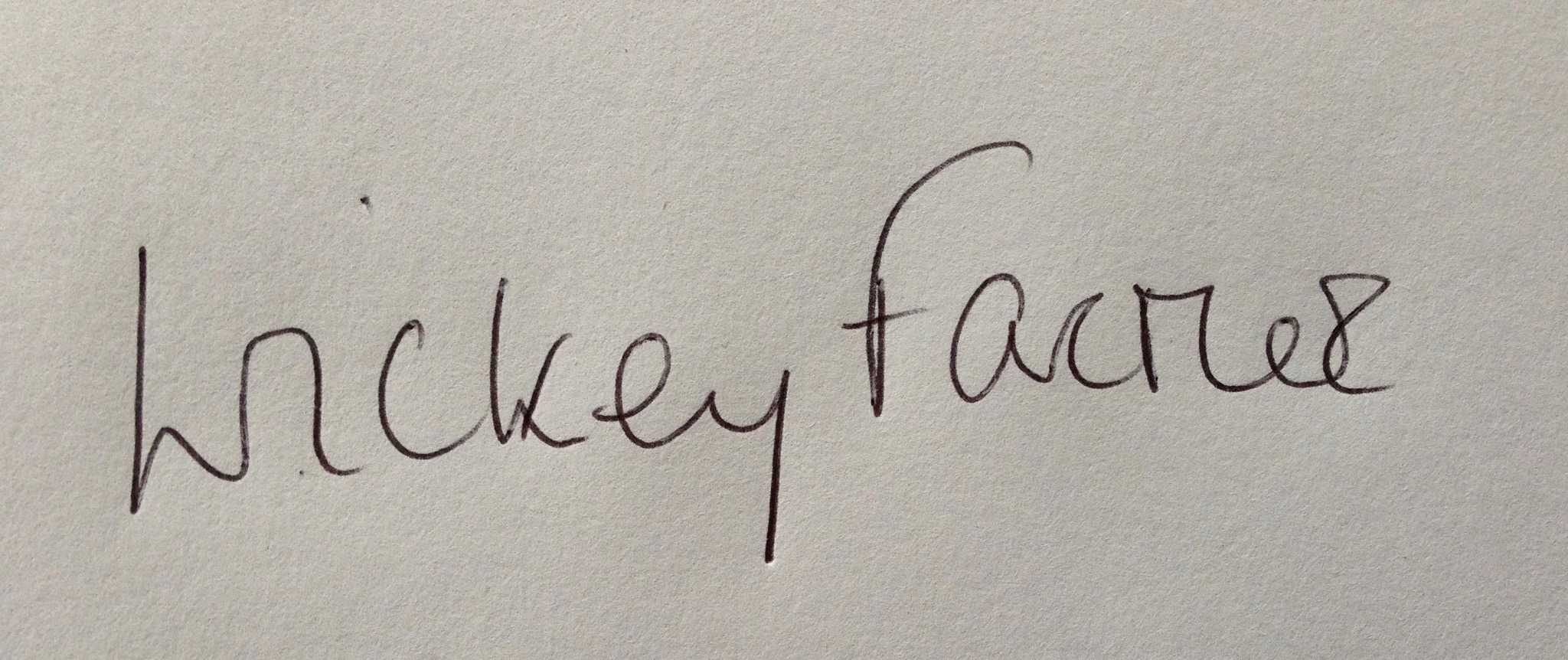 Wickey Farmer's Signature