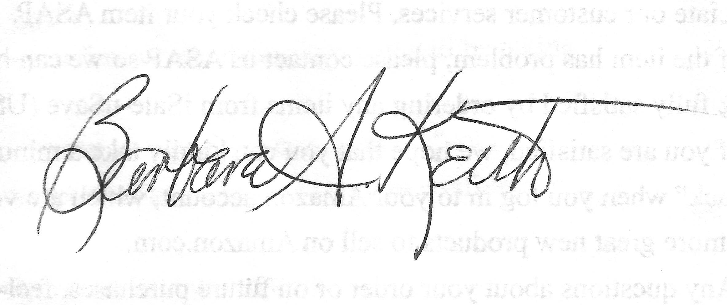 Barbara Keith's Signature