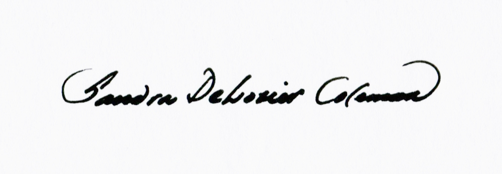 Sandra DeLozier Coleman's Signature