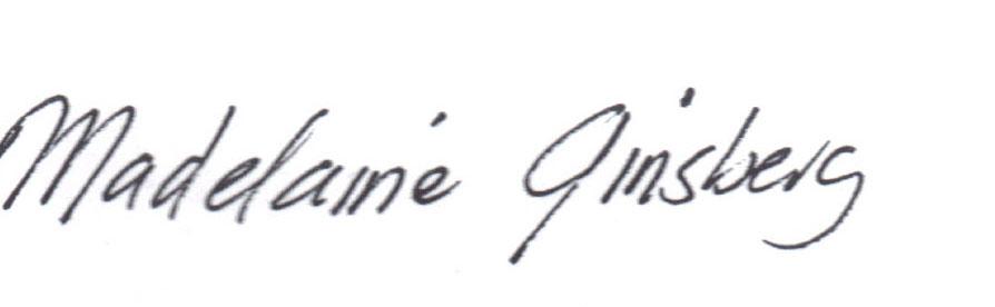 Madelaine Ginsberg's Signature
