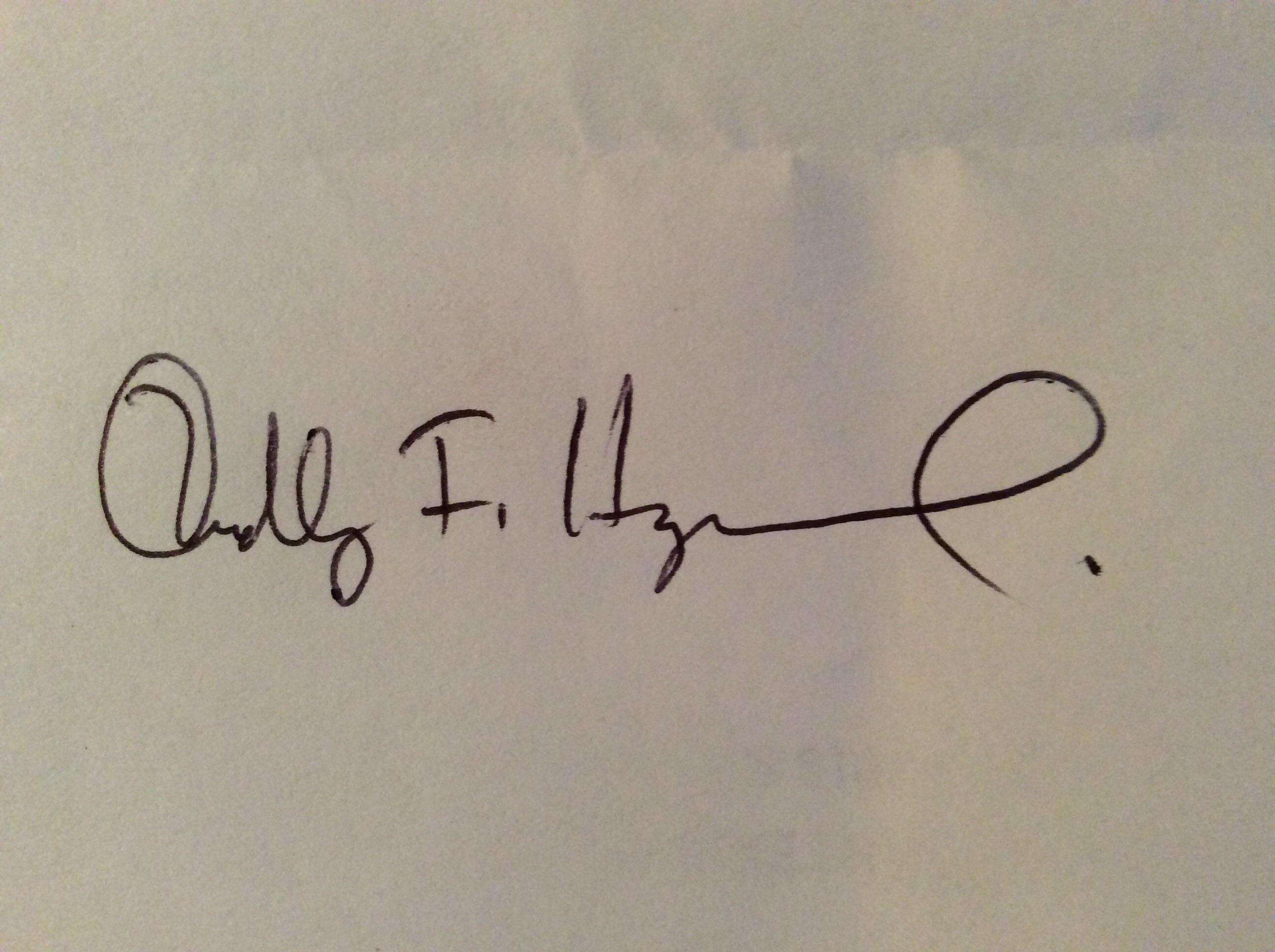Dudley F Hayward's Signature