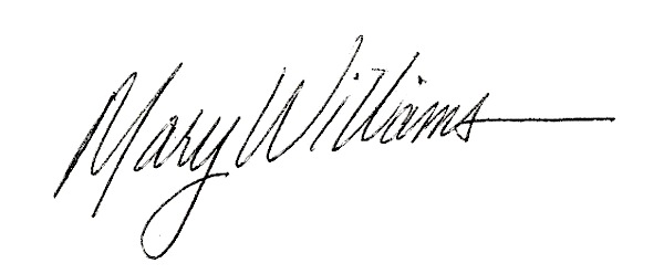 Mary Williams's Signature