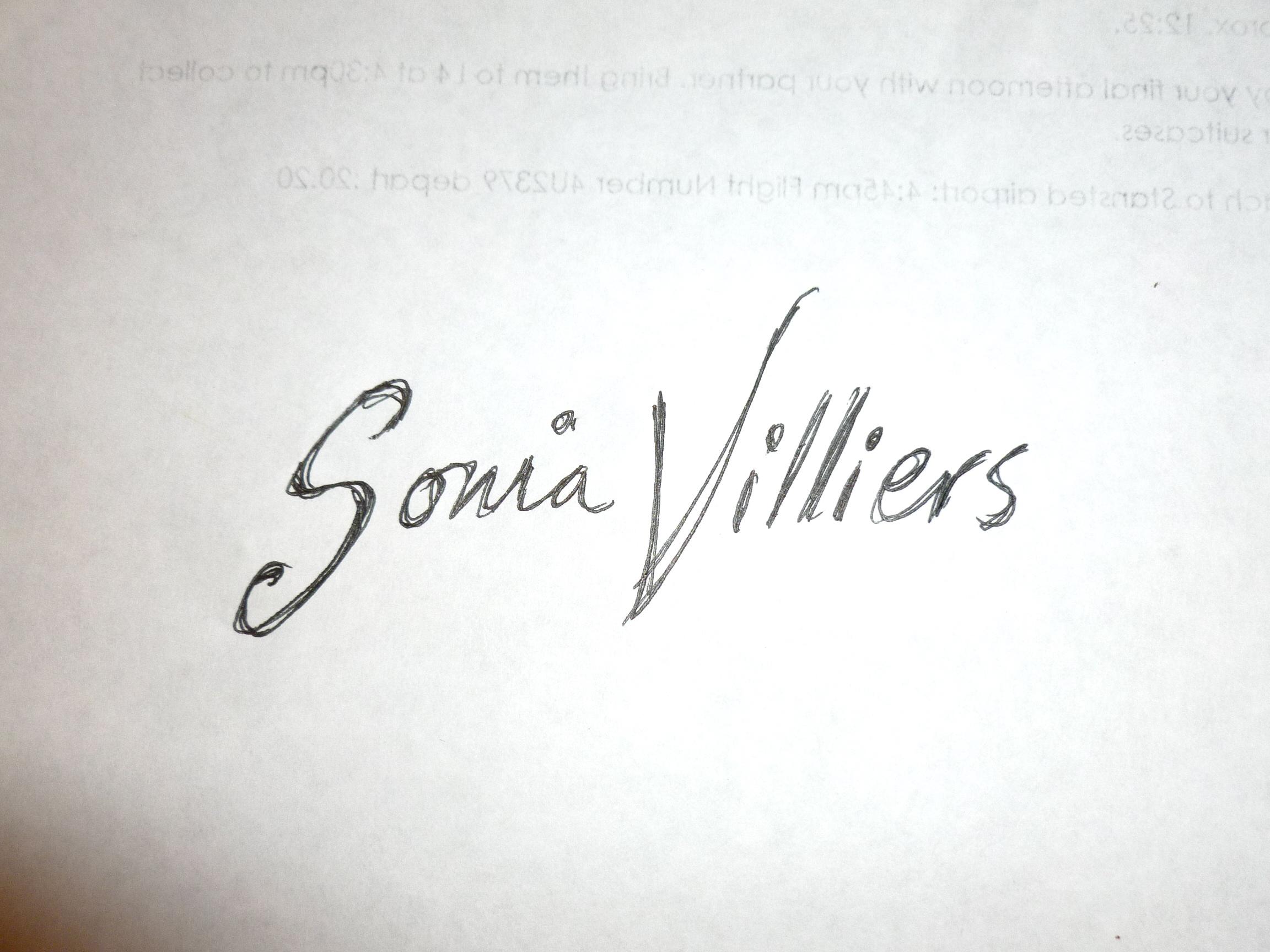 Sonia Villiers's Signature