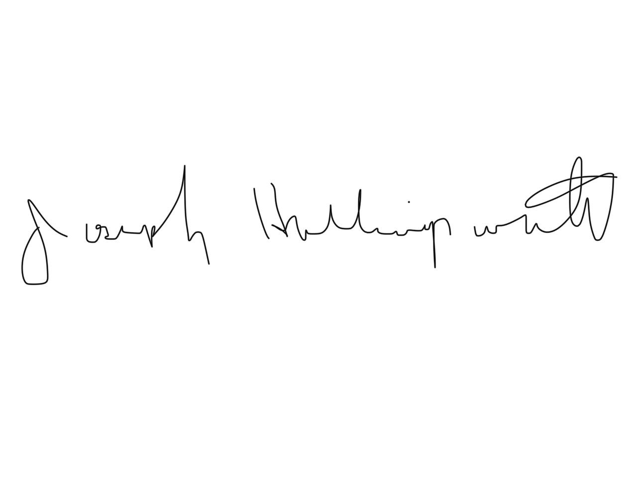 Joseph Hollingsworth's Signature