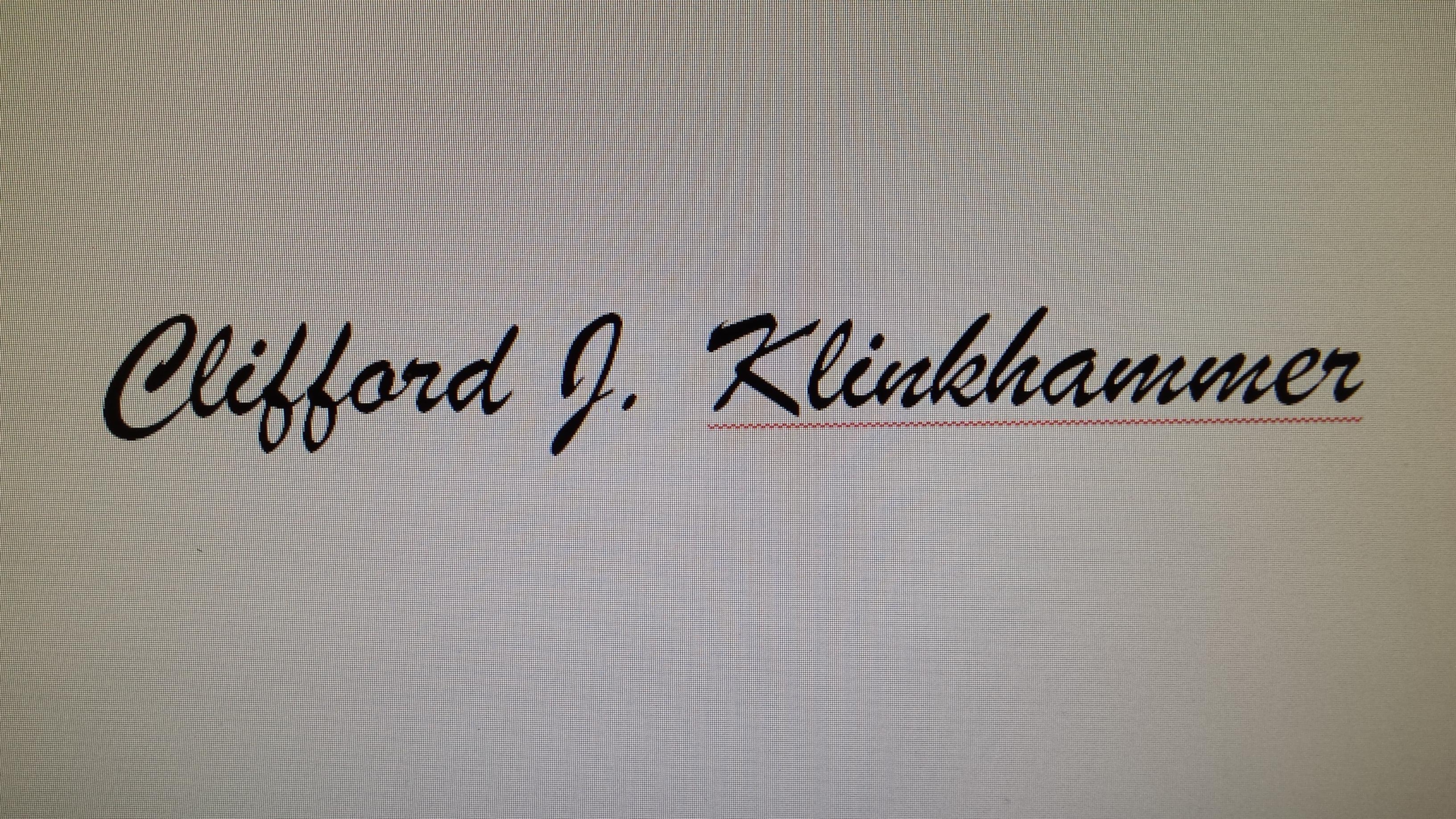 Clifford J. Klinkhammer's Signature