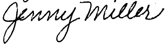 JENNY MILLER's Signature
