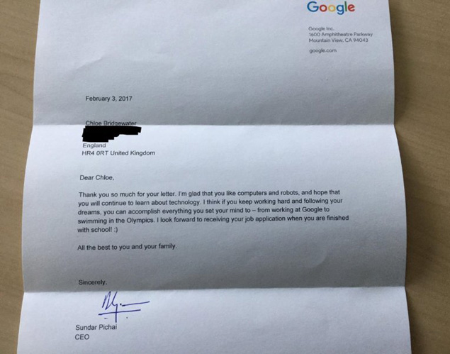 Reply by Google's CEO Sundar Pichai
