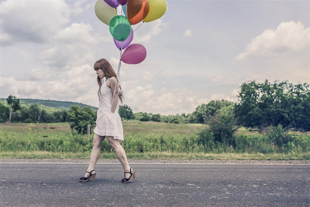 Woman with Baloons