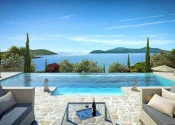 The Hills Dubrovnik Seating Area Looking Over Pool & Sea