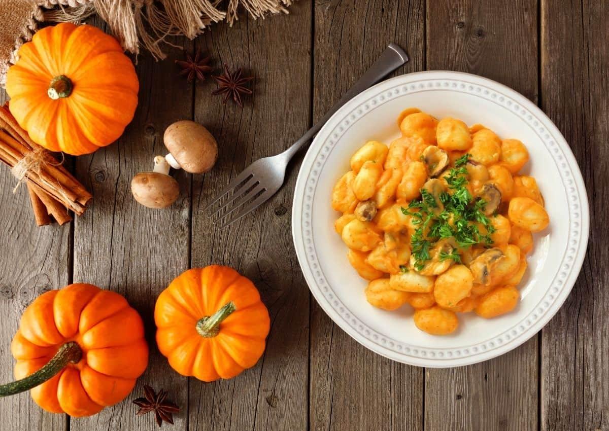 Pan fried pumpkin gnocchi