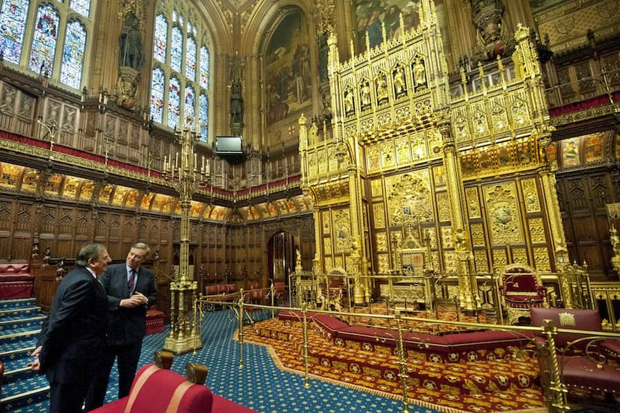 Secretary of Defense Leon E. Panetta is given a tour of the House of Lords by Minister of State for the Armed Forces of the UK, Andrew Robathan, in London, England, Jan. 18, 2013. Panetta is on a six day trip to Europe to visit with foreign counterparts and troops in the area. (DoD photo by Erin A. Kirk-Cuomo) (Released)