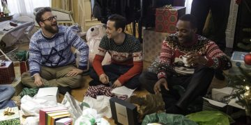 """L-r, Seth Rogen, Joseph Gordon-Levitt and Anthony Mackie star in Columbia Pictures' """"The Night Before."""""""