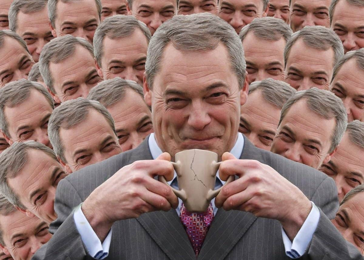 12 Feb 2015, London, England, UK --- Nigel Farage, the leader of the UK Independence Party (UKIP) drinks a cup of tea at the Smallgains boatyard during a campaign stop on Canvey Island in Essex, southeast England February 12, 2015. REUTERS/Suzanne Plunkett (BRITAIN - Tags: POLITICS) --- Image by © SUZANNE PLUNKETT/Reuters/Corbis