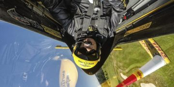 Nigel Lamb of Great Britain performs during a free practice on the fifth stage of the Red Bull Air Race World Championship in Ascot, Great Britain on August 12, 2016. // Joerg Mitter / Red Bull Content Pool // P-20160812-00816 // Usage for editorial use only // Please go to www.redbullcontentpool.com for further information. //