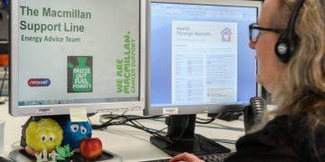 Macmillan call centre. Shipley, Yorkshire, UK