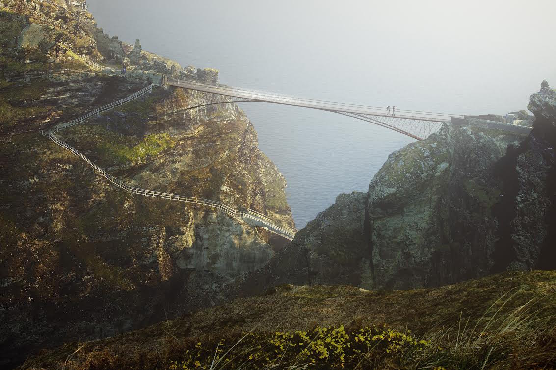 CGI of the new bridge planned for Tintagel, Cornwall. See SWNS story SWBRIDGE; A display to gather local opinions on proposed designs for a new bridge at Tintagel Castle is to take place in the Tintagel Castle Ticket Office & Shop over four days in November and December (6 - 7 November & 11 - 12 December), it has been announced. The display will feature further information about the proposed bridge, as well as the chance to meet the experts involved in the project, and learn more about proposed landscaping improvements to help preserve the important archaeology and ecology of this important site. There will also be a chance to hear about new geological investigations which have taken place at Tintagel Castle to assess the suitability of the site for such a bridge.