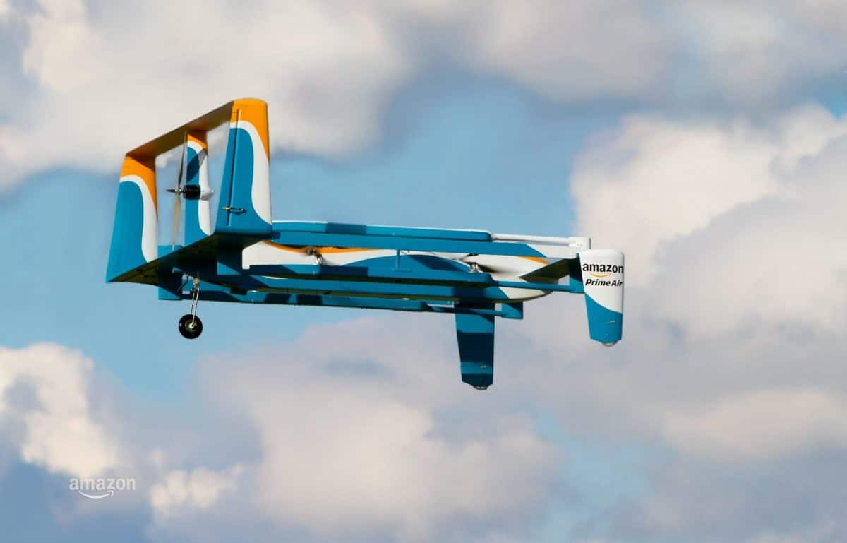 """The Amazon drone which has completed it's first ever delivery in Cambridgeshire. See Masons copy MNAMAZON: Amazon, the US tech giant, has launched the first delivery of goods in thirty minutes using drone technology in idyllic Cambridgeshire. The billionaire founder of Amazon announced on Twitter that: """"First-ever #AmazonPrimeAir customer delivery is in the books."""""""