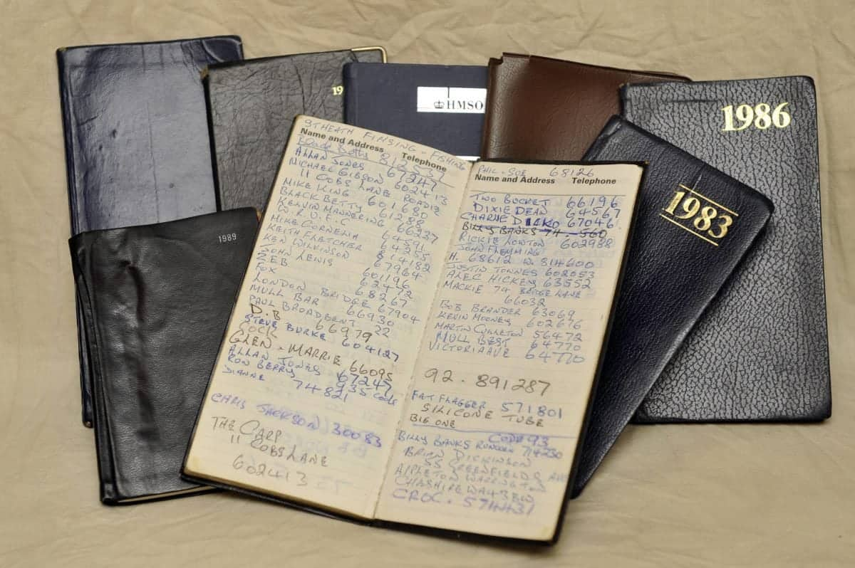 Chris Culleton from Warrington, Cheshire, diary books where he kept record of the women he had slept with and their numbers. See SWNS story SWSEX : A 79-year-old has revealed he has slept with over 2,000 women - more than Playboy boss Hugh Hefner. Lothario Chris Culleton says he has been a ladies' man all his life and has bedded 2,084 partners. Chris claims he met many of the women he's been with while working as a music promoter bringing bands to Warrington in Cheshire. He says he was such a romantic he turned down jobs with the Rolling Stones and Radio Caroline because of love. But after decades of playing the field he says he is now giving up dating to take up FISHING instead - saying 'women are too much trouble'. Chris, of Longford, Chesire, was given his nickname the 'Longford Lover' by local policeman who used to see him with different girls. 2 February 2017.